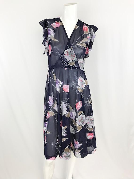 1970s Sheer Flutter Sleeve Dress || Vintage Wrap F
