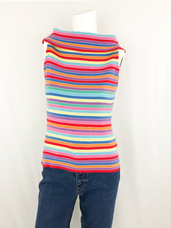 90s Pierre Cardin Rainbow Knit Top || Vintage Stri