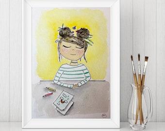 ORIGINAL 5x7 Watercolor Painting- Girl in Yellow