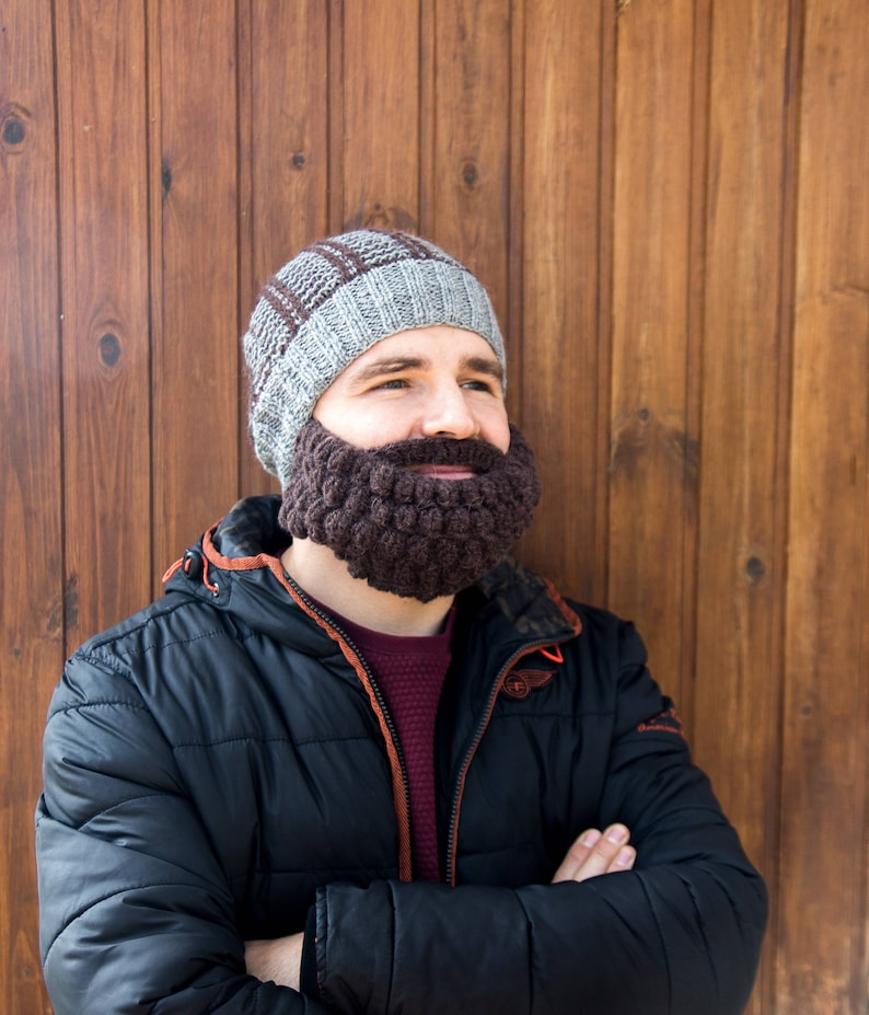 3d27d97d88b Mens snowboard ski mask and beanie Funny knitted beard and hat face ...