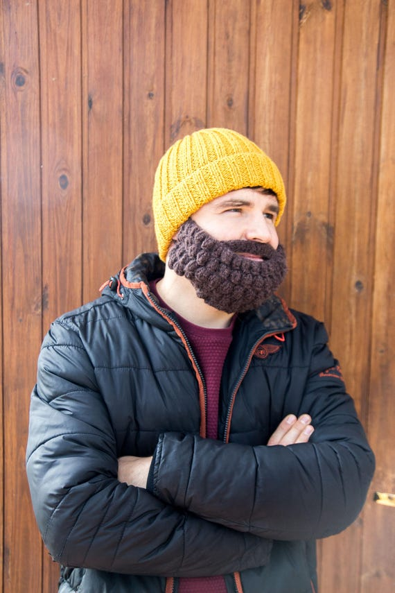 Mens Snowboard Ski Mask And Beanie Funny Knitted Beard And Etsy