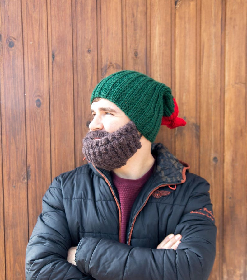 63765dd269a Mens snowboard ski mask and beanie Funny knitted beard and