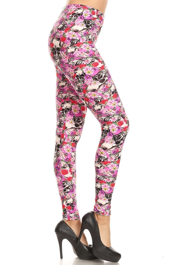 PLUS Size 12-20 Sugar Skull Colorful Leggings Buttery Soft NEW