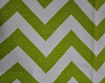 Lime Green zig zag on white background fabric 2000