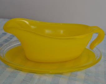 Vintage Yellow Phoenix Ware Gravy/sauce boat and saucer 1960s 1970s