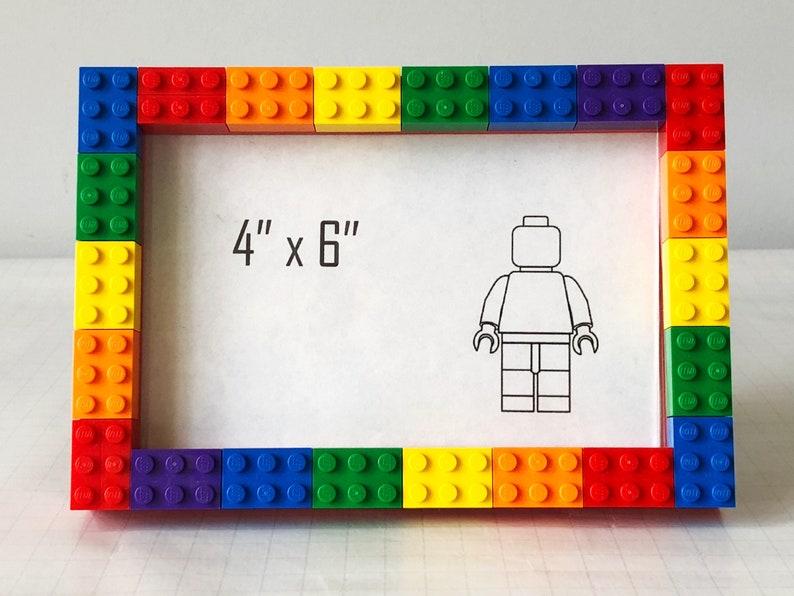 17e22047e9a04 Rainbow Lego Photo Frame 4x6 With Glass   No Glue