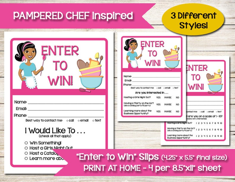 TUPPERWARE PAMPERED CHEF Enter To Win Door Prize Drawing Slip Raffle Ticket Contest Form Direct Sales Tastefully Simple