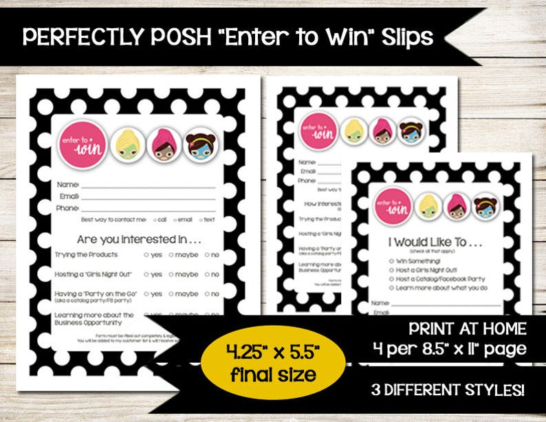 Perfectly Posh Enter To Win Girls Facial Door Prize Etsy