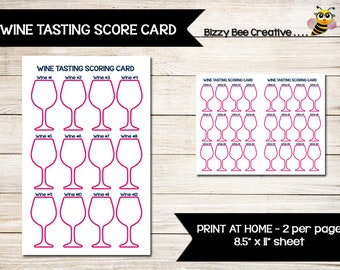 WINE TASTING   Score Card   Scoring Card   Direct Sales   Home Party   Tally Sheet   Tracker   Thirty-One   Girls Night Out
