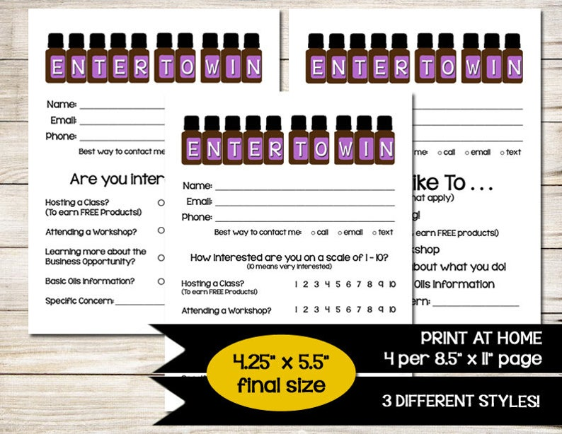 ESSENTIAL OILS | Enter to Win | Door Prize | Drawing Slip | Raffle Ticket |  Contest Form | Direct Sales | Vendor Event