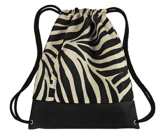BACKPACK ZEBRA Drawstring Bag Leather Hipster Sack Bag Two Zipper-Closed Pockets Cotton Strings