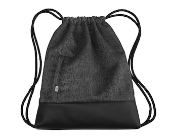 BACKPACK Drawstring Bag Leather Hipster Sack Bag Two Zipper-Closed Pockets Colorfull Lining Cotton Strings