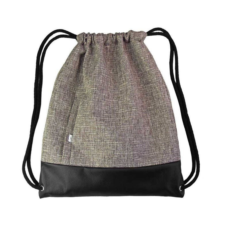 BACKPACK Drawstring Bag Leather Hipster Beige Sack Bag Two Zipper-Closed Pockets Colorfull Lining Cotton Strings