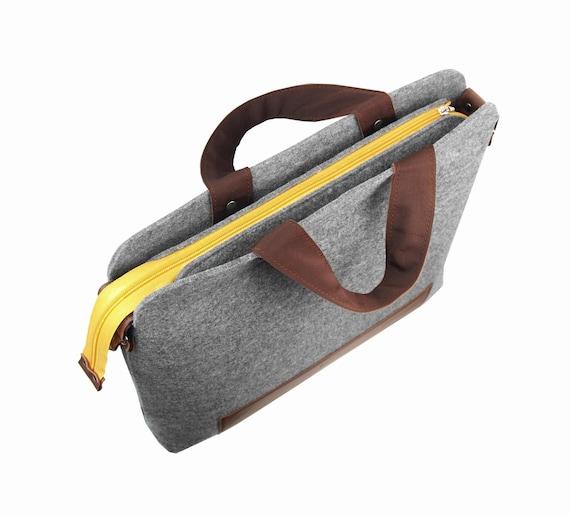 LAPTOP FELT BAG Mister dark gray felt shoulder bag unisex handbag with black leather takes 15 inch laptop boyfriend gift