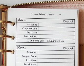 Printed Coupon Tracker Personal Size Planner Inserts