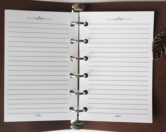 Printed | POCKET PM Small size | Lined Notes Planner Inserts