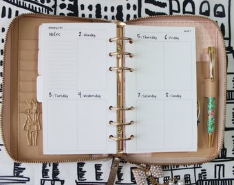 Printed Weekly Personal Planner Inserts Vertical WO2 Pages