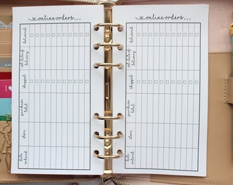 Printed | PERSONAL MM Medium size | Online Purchase Tracker Planner Inserts