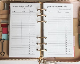 Printed Groceries List Personal Size Planner Inserts