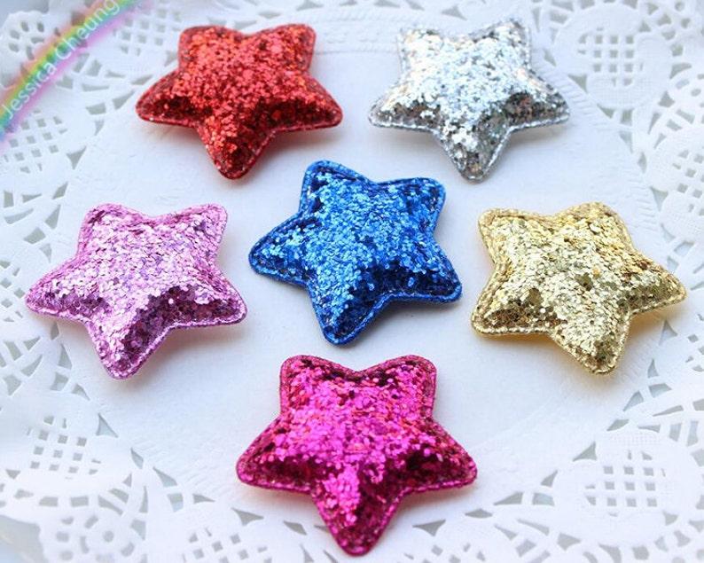 Scrapbook 10pcs Glitter Sequin Star Appliques Padded Stars Baby Headband Brooch DIY Craft Supplies FZ0301 Party Decor Hair Accessory
