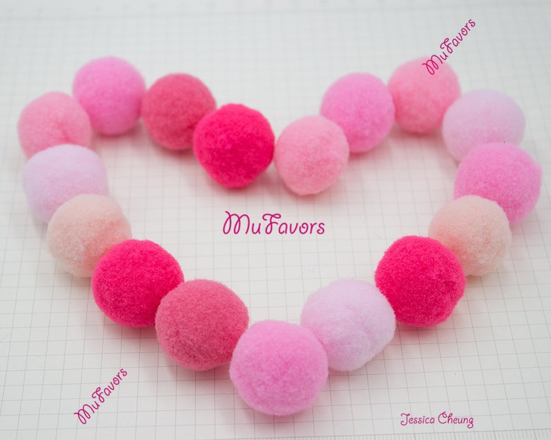 DIY Craft Supply Ball Wreath 25mm PINK Colors Pompoms High Density Polyester Pom Pom Balls Loose Balls for Home Garland Baby Mobile