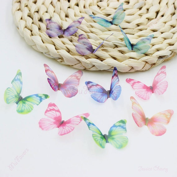 43MM Neon Color Organza Butterfly Appliques Sheer Artificial Butterfly Accessory for Hair Clips, Embellishment, Party Supplies