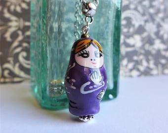 Matryoshka Porcelain Pendant Necklace, Babushka Jewellery, Russian Doll Jewelry Pendant, Purple Jewelry Porcelain, Christmas Gift Her