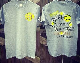 Monogrammed Softball Shirt, Diamonds are my Obsession I Bat with Agression, Softball Shirt