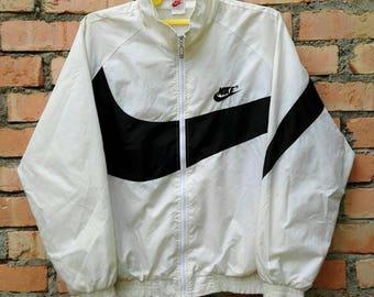 Vintage Nike Swoosh Gray Tag Windbreaker Tracksuit Top