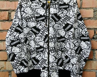 Rare!!! Hello Kitty Hoodie Fullprint Zip Medium Size yQ1AYHCeec