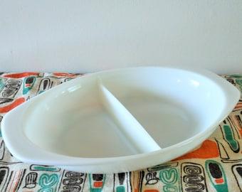 Pyrex Opal Divided Dish, Pyrex Cinderella 1.5 Quart Casserole, Series 1063
