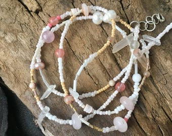 Raw crystal bracelet, Bracelet necklace, Crystal quartz jewelry, Rose quartz braclet, Pearl braclet, Natural stone bracelet, Beaded bracelet