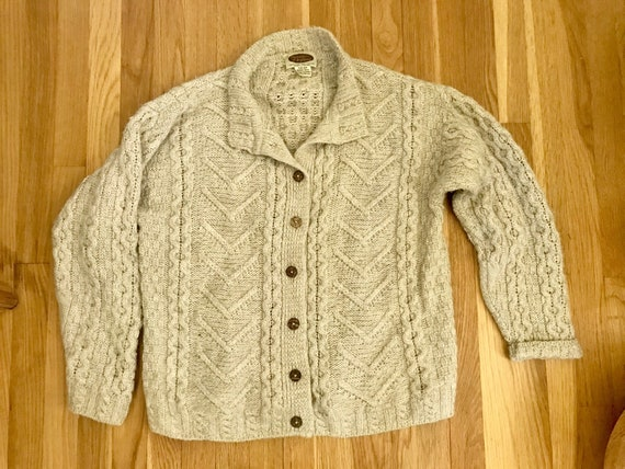 678940cb3 Vintage cream white wool cardigan sweater   chunky knit off