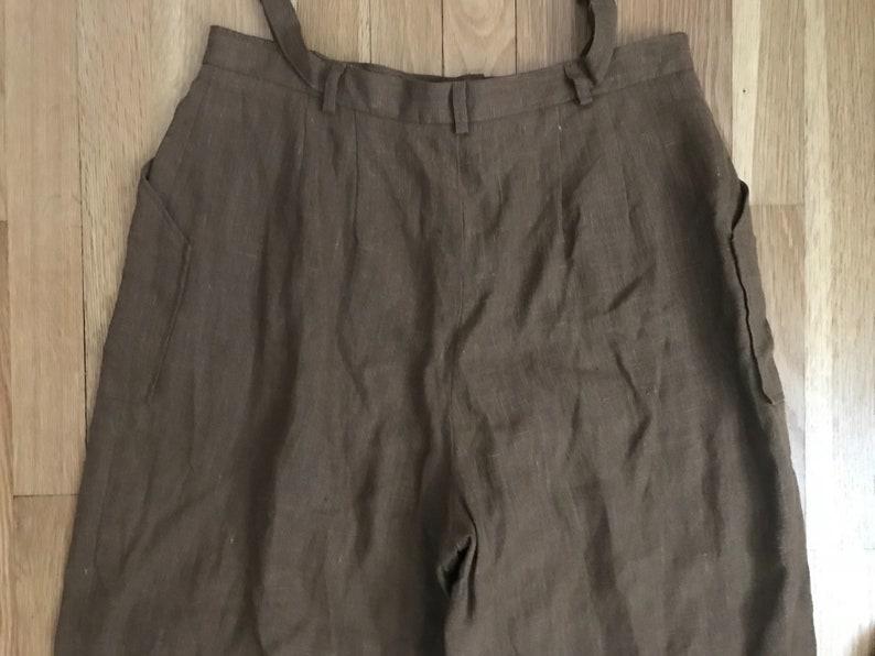 Vintage high waist 90s linen pants  brown linen wide leg pants  women\u2019s small 4 6 8