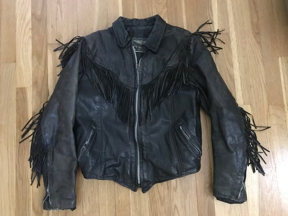 Vintage fringe black leather jacket / boho stateme