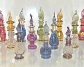 Egyptian-items Lot of 12 Tiny Mouth Blown Egyptian Perfume Bottles Pyrex Glass