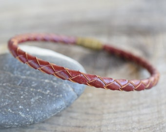 Burgundy leather band mens leather bracelets braided leather bracelet with brass closure mens bands