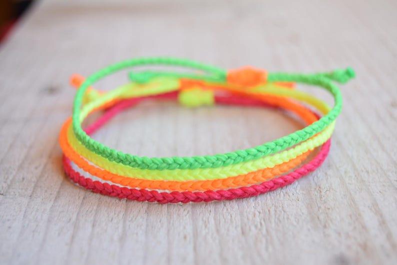prix de gros enfant rechercher les plus récents Thin waxed string bracelets neon friendship bracelets neon anklets
