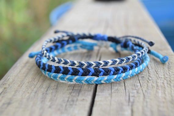 Blue waxed string bracelets mens friendship bracelets men ...