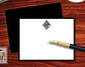 Diamond Monogram Flat Note Cards