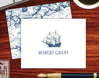 Clipper Ship Folded Note Cards
