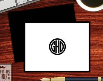 Circle Monogram Folded Note Cards