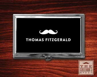 Moustache Personalized Business Card Case