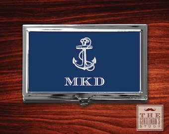 Anchor Monogrammed Business Card Case
