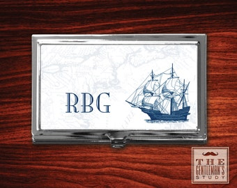 Clipper Ship Monogrammed Business Card Case