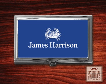 Blue Crab Personalized Business Card Case