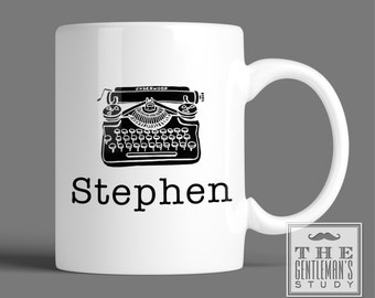 Vintage Typewriter Personalized Mug - 11 oz Ceramic Personalized Coffee Cup with Name or Initials - Retro Monogrammed Mug - Gift for Writer