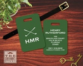 Fairway Personalized Luggage Tag - Monogrammed Golf Bag Tag - Masculine Plastic ID Tag w Leather Strap - Travel Accessory Gift for Golfer