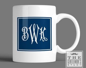 Regency Monogram Mug - Personalized Coffee Cup with Art Deco Initials - Traditional 3 Initial Monogram - 11 oz Ceramic Mug - Gift for Man