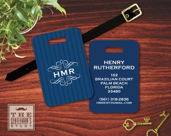 Kensington Monogrammed Luggage Tag
